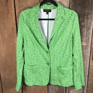 Talbots green design cotton blazer size large